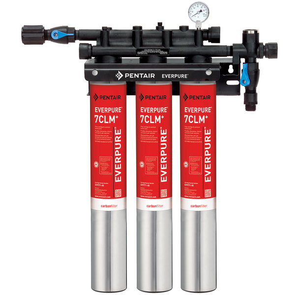 Everpure EV9771-13 QC7I Triple-7CLM+ Water Filtration System - 5 Micron and 5.01/4/3 GPM Main Image 1
