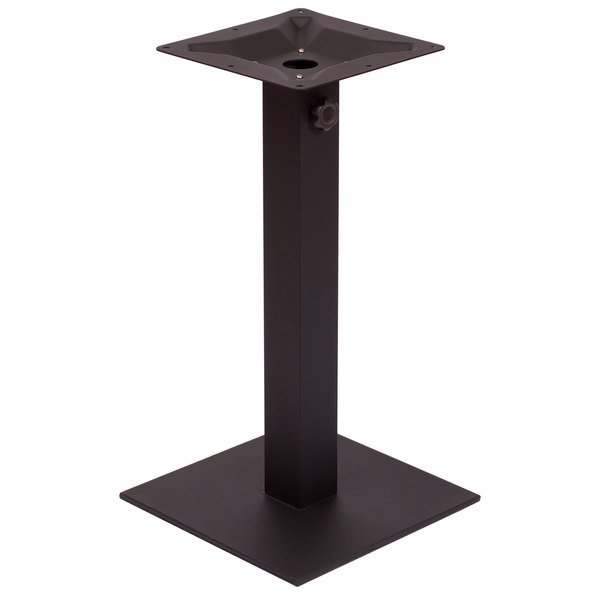 "BFM Seating PHTB24SQBLU Margate Standard Height Outdoor / Indoor 24"" Black Square Table Base with Umbrella Hole"