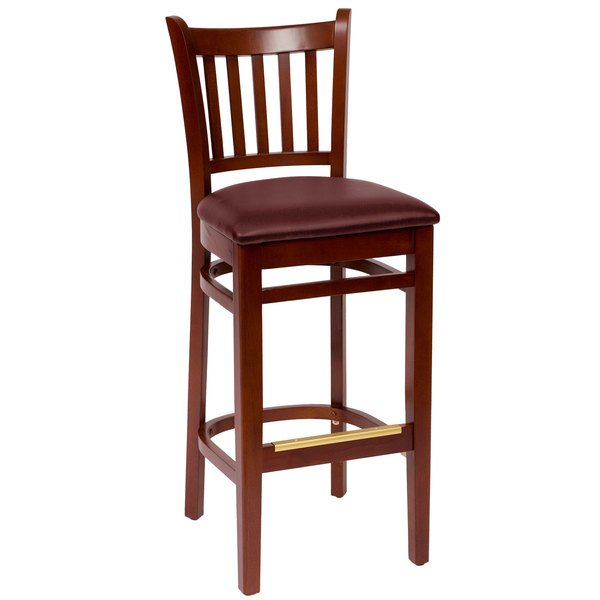 "BFM Seating LWB102MHBUV Delran Mahogany Wood Bar Height Chair with 2"" Burgundy Vinyl Seat Main Image 1"