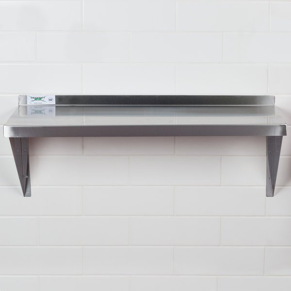 "Regency 16 Gauge Stainless Steel 15"" x 36"" Heavy-Duty Solid Wall Shelf"