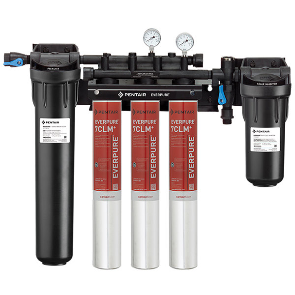 Everpure EV9771-33 High Flow CSR Triple-7CLM+ Water Filtration System with Pre-Filter and Scale Reduction - 5 Micron and 5.01/4/3 GPM Main Image 1