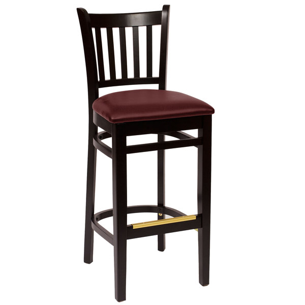 "BFM Seating LWB102BLBUV Delran Black Wood Bar Height Chair with 2"" Burgundy Vinyl Seat Main Image 1"