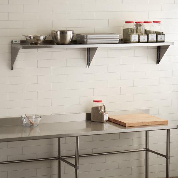 """Regency 18 Gauge Stainless Steel 15"""" x 84"""" Solid Wall Shelf"""