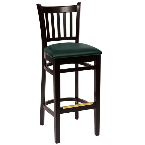 """BFM Seating LWB102BLGNV Delran Black Wood Bar Height Chair with 2"""" Green Vinyl Seat Main Image 1"""
