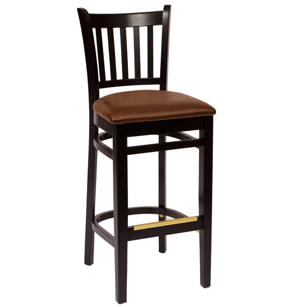 "BFM Seating LWB102BLLBV Delran Black Wood Bar Height Chair with 2"" Brown Vinyl Seat"