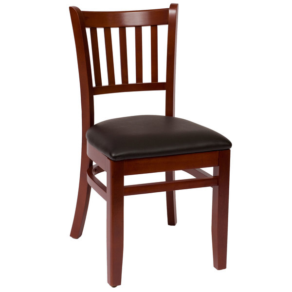 "BFM Seating LWC102MHBLV Delran Mahogany Wood Side Chair with 2"" Black Vinyl Seat"