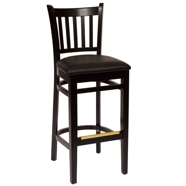 "BFM Seating LWB102BLBLV Delran Black Wood Bar Height Chair with 2"" Black Vinyl Seat"