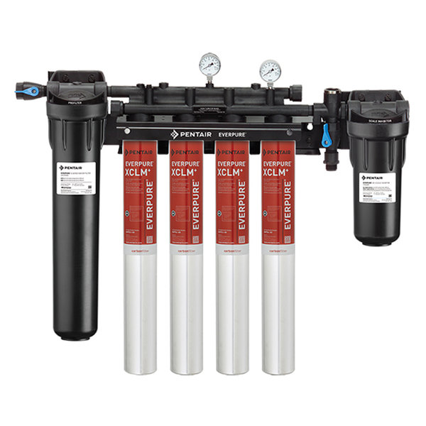 Everpure EV9761-34 High Flow CSR Quad-XCLM+ Water Filtration System with Pre-Filter and Scale Reduction - 5 Micron and 8/6.68/4 GPM