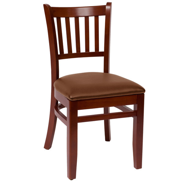 "BFM Seating LWC102MHLBV Delran Mahogany Wood Side Chair with 2"" Brown Vinyl Seat"