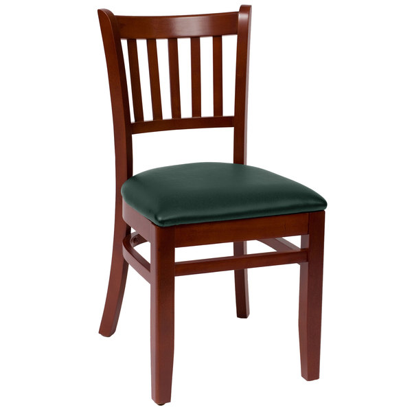 "BFM Seating LWC102MHGNV Delran Mahogany Wood Side Chair with 2"" Green Vinyl Seat"