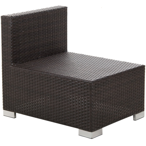 BFM Seating PH5101JV-M Aruba Java Wicker Outdoor / Indoor Armless Cushion Chair