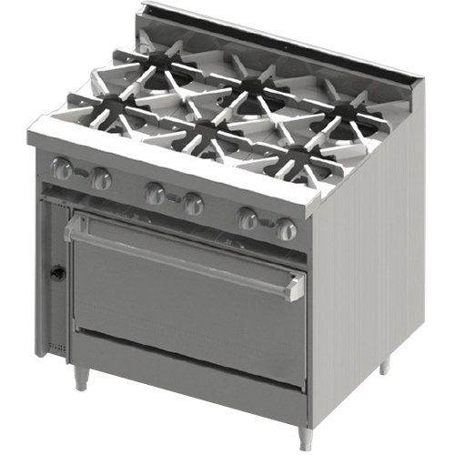 "Blodgett BR-6-36C Natural Gas 6 Burner 36"" Range with Convection Oven Base - 210,000 BTU"