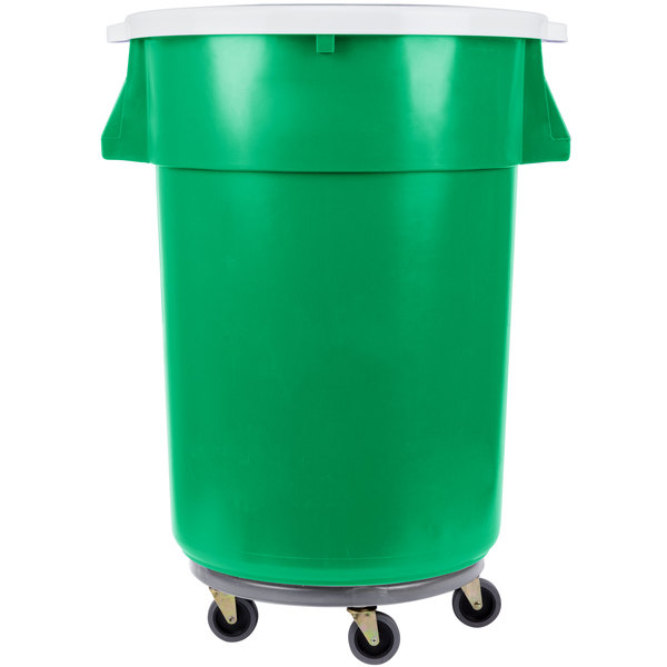 Continental 44 Gallon Green Recycling Trash Can, Lid, and Dolly Kit