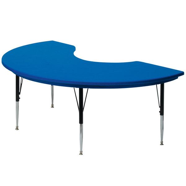 "Correll AR4872 48"" x 72"" Blue Plastic Adjustable Height Kidney Table Main Image 1"