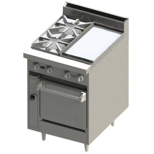 """Blodgett BR-2-12GT-24 Liquid Propane 2 Burner 24"""" Thermostatic Range with Right Side 12"""" Griddle and Oven Base - 114,000 BTU"""