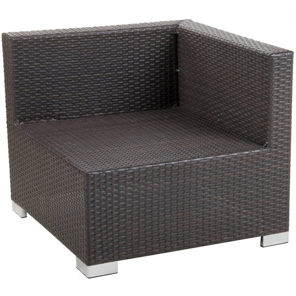 BFM Seating PH5101JV-L Aruba Java Wicker Outdoor / Indoor Cushion Armchair with Left Arm Rest Main Image 1