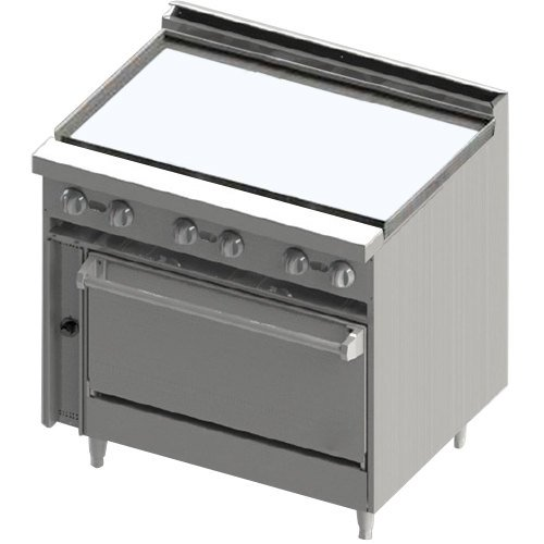 "Blodgett BR-36G Natural Gas 36"" Manual Range with Griddle Top and Cabinet Base - 72,000 BTU"