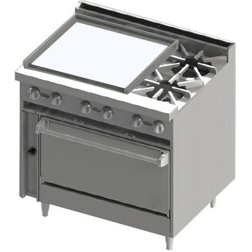 "Blodgett BR-24GT-2 Natural Gas 2 Burner 36"" Thermostatic Range with Left Side 24"" Griddle and Cabinet Base - 108,000 BTU"