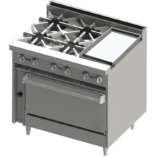 "Blodgett BR-4-12G-36C Natural Gas 4 Burner 36"" Manual Range with Right Side 12"" Griddle and Convection Oven Base - 174,000 BTU"