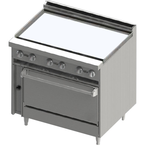 "Blodgett BR-36GT Natural Gas 36"" Thermostatic Range with Griddle Top and Cabinet Base - 72,000 BTU"