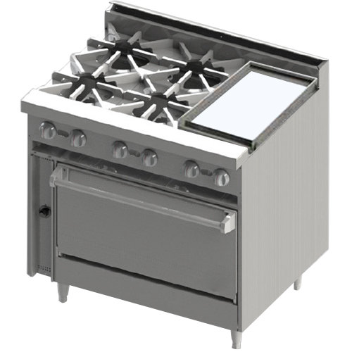 """Blodgett BR-4-12GT-36 Liquid Propane 4 Burner 36"""" Thermostatic Range with Right Side 12"""" Griddle and Oven Base - 174,000 BTU Main Image 1"""