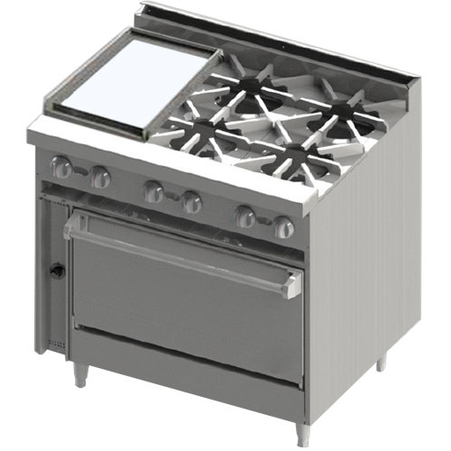 "Blodgett BR-12G-4-36C Liquid Propane 4 Burner 36"" Manual Range with Left Side 12"" Griddle and Convection Oven Base - 174,000 BTU Main Image 1"