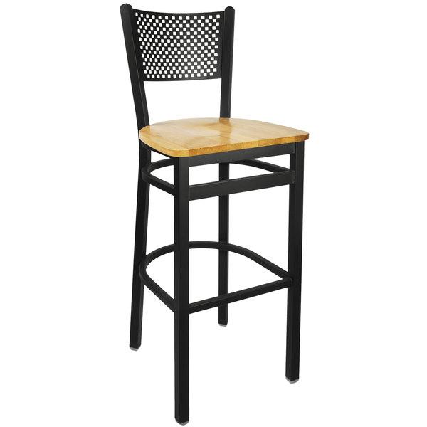 BFM Seating 2161BNTW-SB Polk Sand Black Metal Bar Height Chair with Natural Seat