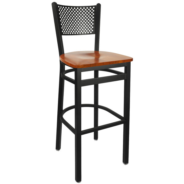 BFM Seating 2161BCHW-SB Polk Sand Black Metal Bar Height Chair with Cherry Seat Main Image 1
