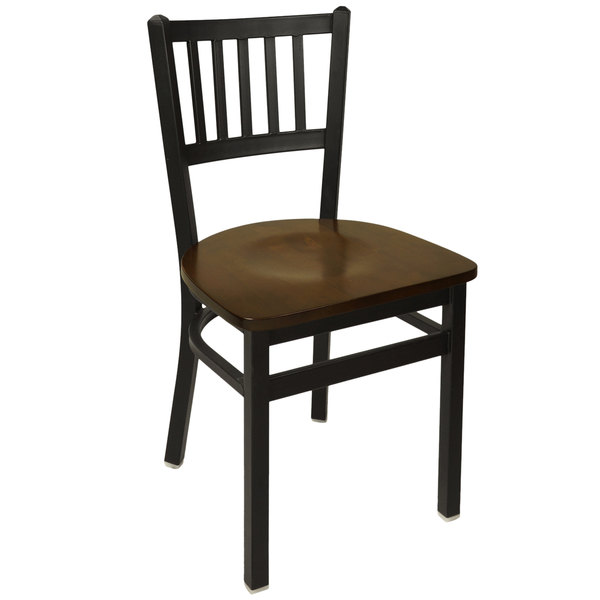 BFM Seating 2090CWAW-SB Troy Sand Black Metal Side Chair with Walnut Seat Main Image 1