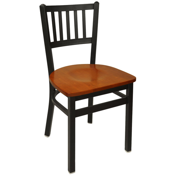 BFM Seating 2090CCHW-SB Troy Sand Black Metal Side Chair with Cherry Seat Main Image 1