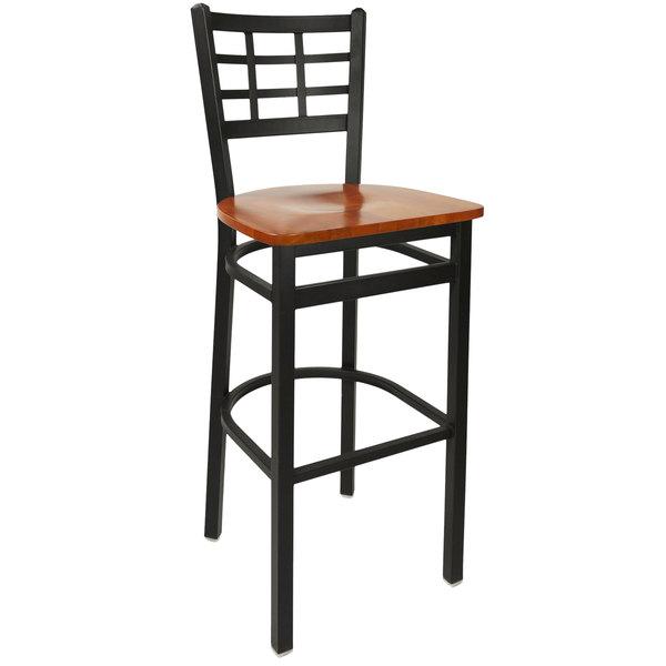 BFM Seating 2163BCHW-SB Marietta Sand Black Metal Bar Height Chair with Cherry Wood Seat Main Image 1