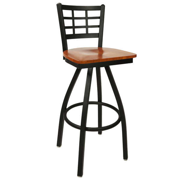 BFM Seating 2163SCHW-SB Marietta Sand Black Metal Swivel Bar Height Chair with Cherry Wood Seat Main Image 1
