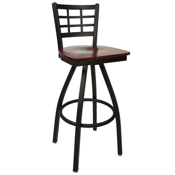 BFM Seating 2163SMHW-SB Marietta Sand Black Metal Swivel Bar Height Chair with Mahogany Wood Seat