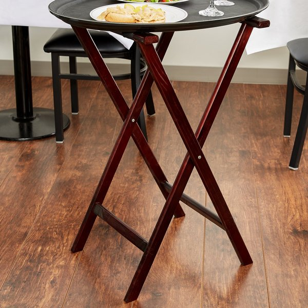 "Lancaster Table & Seating 17 3/4"" x 15 3/4"" x 32"" Folding Wood Tray Stand Red Brown"