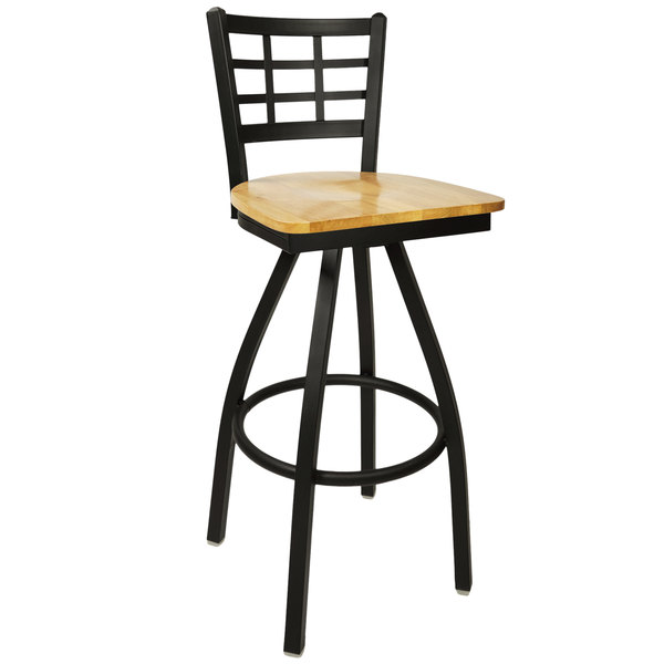 BFM Seating 2163SNTW-SB Marietta Sand Black Metal Swivel Bar Height Chair with Natural Wood Seat