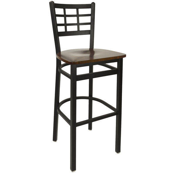 BFM Seating 2163BWAW-SB Marietta Sand Black Metal Bar Height Chair with Walnut Wood Seat Main Image 1