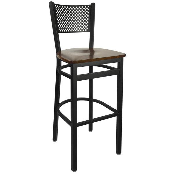 BFM Seating 2161BWAW-SB Polk Sand Black Metal Bar Height Chair with Walnut Seat Main Image 1