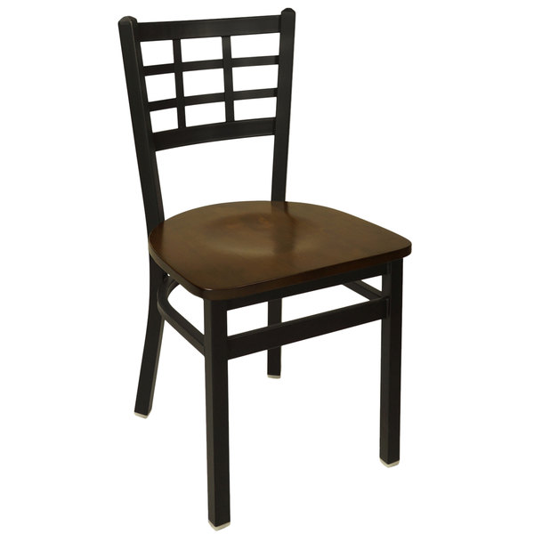 BFM Seating 2163CWAW SB Marietta Sand Black Metal Side Chair With Walnut  Wood Seat