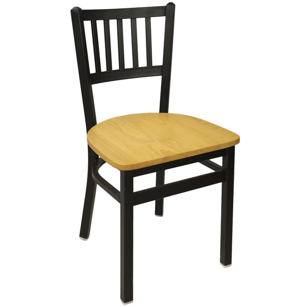 BFM Seating 2090CNTW-SB Troy Sand Black Metal Side Chair with Natural Seat Main Image 1