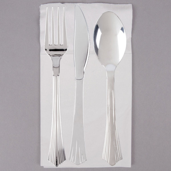 Easy Set Up & Silver Visions Silver Heavy Weight Plastic Cutlery Set with White ...