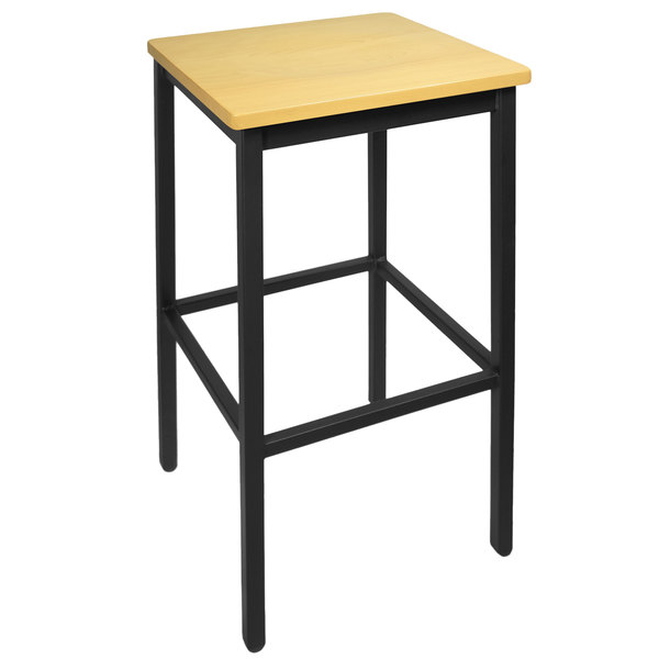 BFM Seating 2510BNTW-SB Trent Sand Black Metal Barstool with Natural Wood Seat Main Image 1