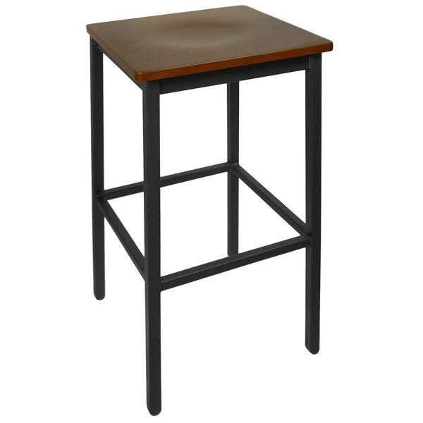 BFM Seating 2510BMHW-SB Trent Sand Black Metal Barstool with Mahogany Wood Seat Main Image 1