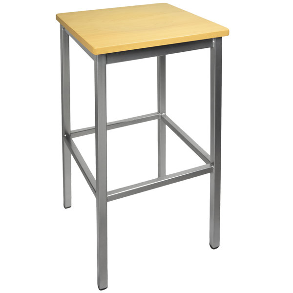 BFM Seating 2510BNTW-SV Trent Silver Metal Barstool with Natural Wood Seat