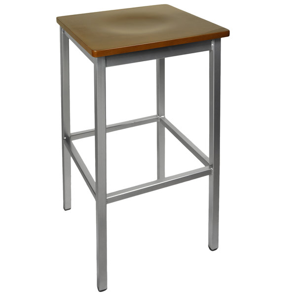 BFM Seating 2510BWAW-SV Trent Silver Metal Barstool with Walnut Wood Seat Main Image 1