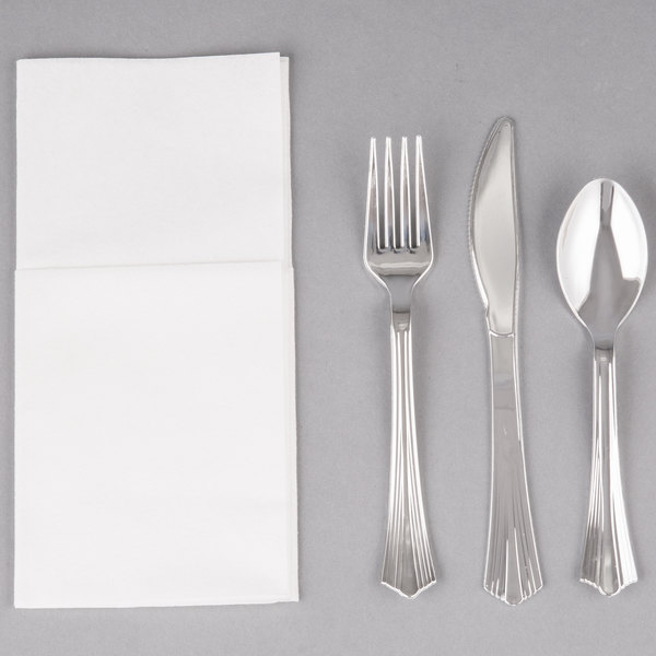 ... silver cutlery set is perfect for incorporating an upscale look in your table settings while still offering the convenience of disposable dinnerware ! & Silver Visions Silver Heavy Weight Plastic Cutlery Set with White ...
