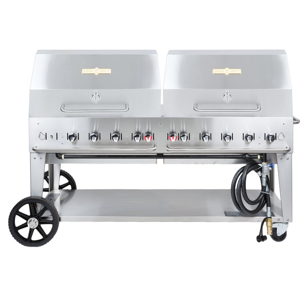 "Crown Verity MCB-72RDP Natural Gas 72"" Mobile Outdoor Grill with Roll Dome Package Main Image 1"