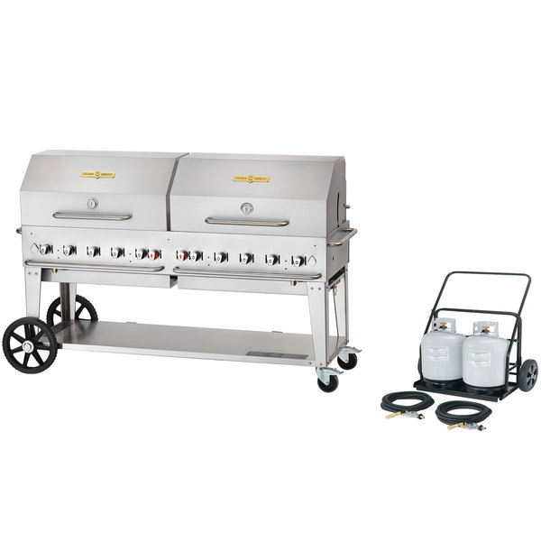 """Crown Verity MCC-72RDP 72"""" Mobile Outdoor Cart Grill with 2 Vertical Propane Tanks and Roll Dome Package"""