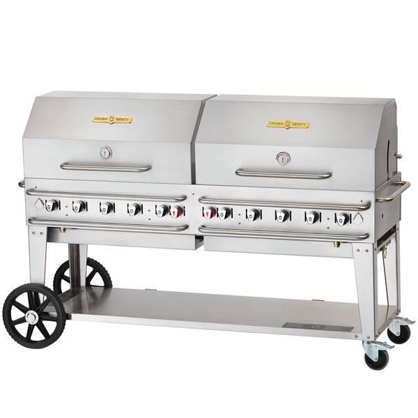"Crown Verity RCB-72RDP-SI 72"" Pro Series Outdoor Rental Grill with Single Gas Connection and Roll Dome Package"