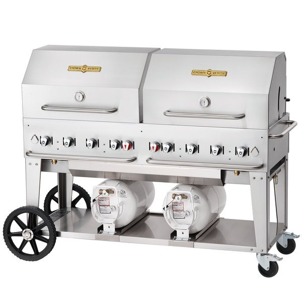 """Crown Verity CCB-60RDP 60"""" Outdoor Club Grill with 2 Horizontal Propane Tanks and Roll Dome Package Main Image 1"""