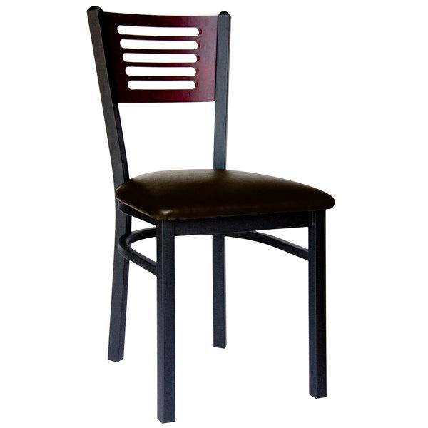 "BFM Seating 2151CDBV-MHSB Espy Sand Black Metal Side Chair with Mahogany Wooden Back and 2"" Dark Brown Vinyl Seat Main Image 1"